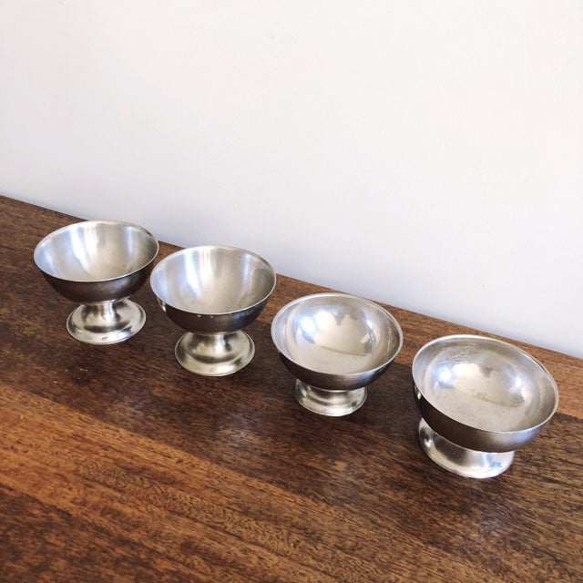 Islamic Vintage Stainless Steel Ice Cream Bowls - Set of 4 For Sale - Image 3 of 8