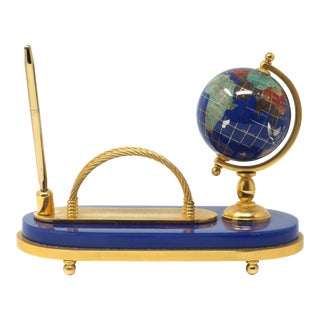Vintage Brass and Stone Globe Pen and Card Holder For Sale
