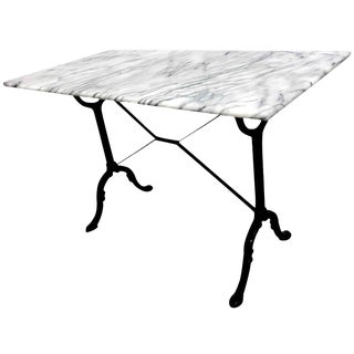 Antique French Cast Iron and Marble Bistro Table For Sale