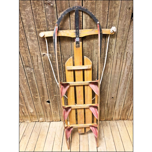 Brown Vintage Weathered Wood & Metal Runner Sled -- Rocket Plane For Sale - Image 8 of 10