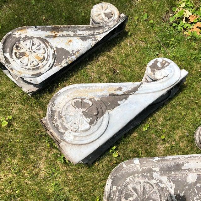 "Antique Victorian Era Large 30"" Zinc Distressed Decorative Corbels - Set of 3 For Sale - Image 9 of 13"