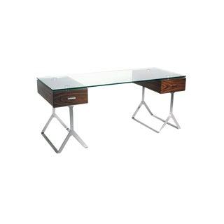 Bellini Zara Glass & Walnut Computer Writing Desk For Sale