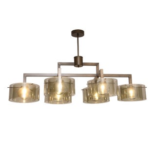 Large Rectangular Six Arms Glass Chandelier For Sale