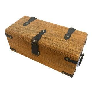 Antique Primitive Wooden Box With Cast Iron Hinges