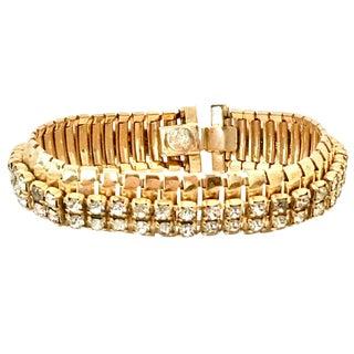 1950's Vintage Jewels by Julio Gold Link & Swarovski Crystal Rhinestone Bracelet For Sale