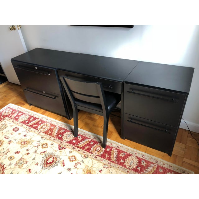 Minimalism Office Modular Filing Cabinet Desk & Chair For Sale - Image 3 of 13
