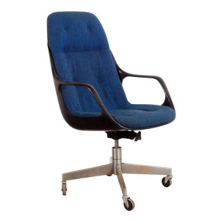 Vintage Mid Century Modern Blue High Back Executive Desk Chair For Sale