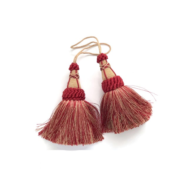 Textile Pair of Key Tassels in Red and Gold With Looped Ruche Trim For Sale - Image 7 of 11