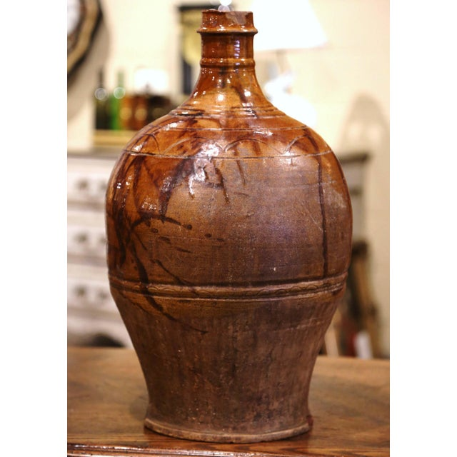 Brown 19th Century Spanish Glazed and Painted Terracotta Wine Jar For Sale - Image 8 of 8