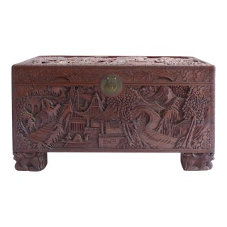 Chinese Teak & Cedar Carved Chest For Sale
