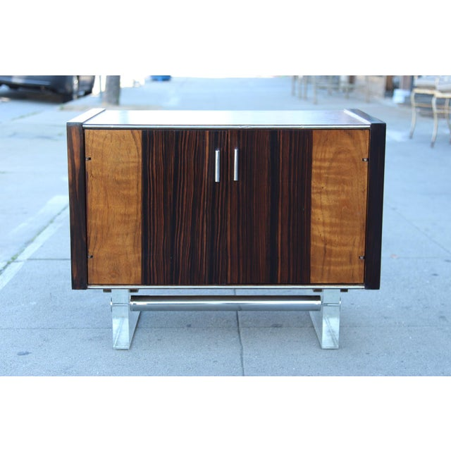 Mid-Century Wooden Nightstand on Lucite Base - Image 3 of 11