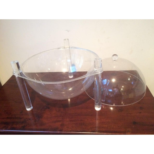 Mid-Century Lucite Covered Bowl For Sale - Image 4 of 8