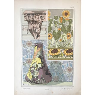 1896 French Decorator Pochoir, Sunflower (Plate 15) - Georges Bourgeot For Sale