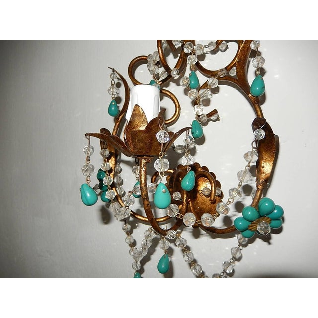 1920s French Turquoise Green Murano Beads Rock Crystal Swags Sconces For Sale - Image 5 of 10