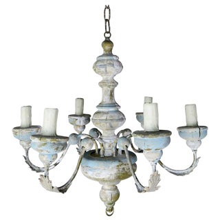 Six Light French Painted Chandelier, Circa 1930s $1,800 For Sale