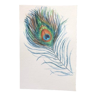 Contemporary Watercolor Painting on Paper of Peacock Feather - 1 For Sale