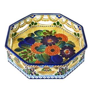Colorful Octagonal Arts and Crafts Aluminia Copenhagen Fruit Bowl