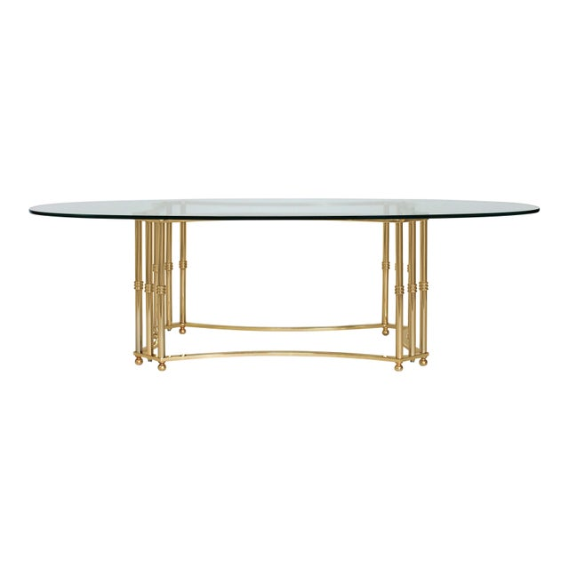 Late 20th Century Oval Brass & Glass Coffee Table For Sale - Image 5 of 8