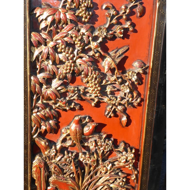 Vintage Asian Red & Gold Gilt Floral Carved Wall Panels- A Pair - Image 8 of 11