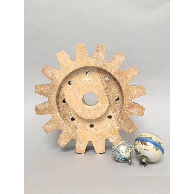 Industrial Rustic Modern Whitewashed Wood Cog Sculpture For Sale In New York - Image 6 of 10