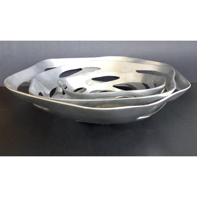 Contemporary Large Graduated Sculptural Modern Polished Metal Bowls - Set of 3 For Sale - Image 3 of 6