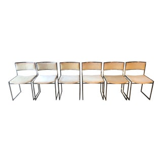 1970s Vintage Milo Baughman Velvet & Chrome Dining Chairs - Set of 6 For Sale