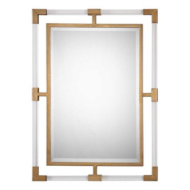 Modern Modern Plexiglass & Brass Mirror For Sale - Image 3 of 3