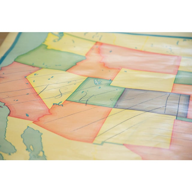 Blue Vintage 1930s Crams Pull Down Map For Sale - Image 8 of 9
