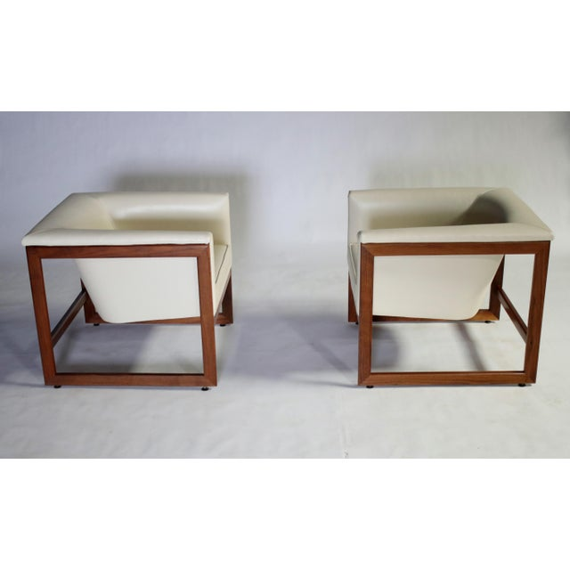 1970s Milo Baughman Floating Cube Club Chairs For Sale - Image 5 of 10