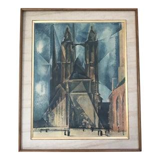 1930s Vintage Market Church in Halle Lyonel Feininger Print For Sale