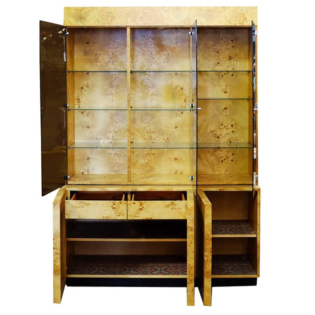 Milo Baughman Burl Wood China Cabinet by Dillingham For Sale - Image 4 of 11