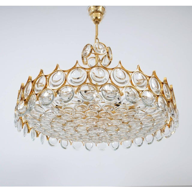 Gold Palwa Gold Brass and Glass Large Chandelier Ceiling Lamp, 1960 For Sale - Image 8 of 10