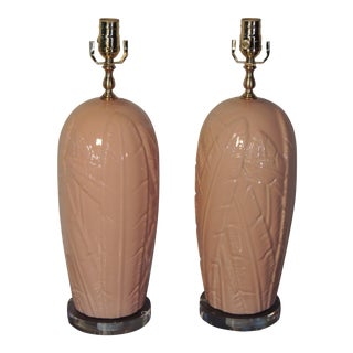 Vintage Banana Leaf Lamps on Lucite - A Pair
