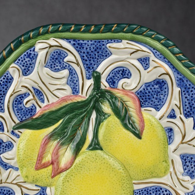 Fitz and Floyd Ceramic Lemon Fruit Motif Majolica Decorative Trompe L'Oeil Plate Fitz & Floyd For Sale - Image 4 of 4