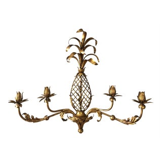 Pineapple Gilt Metal Wall Candle Holder For Sale