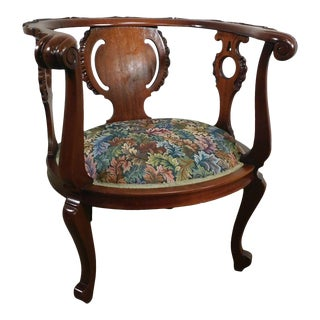 Antique Victorian Mahogany Curved Back Tub or Parlor Chair For Sale
