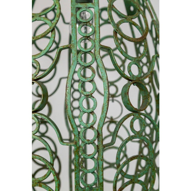 Turquoise 1920's Art Deco Green Oblong Cage Lantern With Circle Motif For Sale - Image 8 of 11