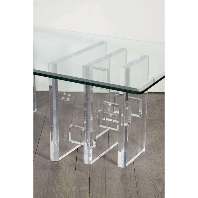 Contemporary Sophisticated Mid-Century Modern Lucite and Glass Cocktail Table For Sale - Image 3 of 9
