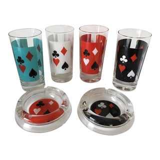 Vintage Poker Highball Glasses & Ashtrays - Set of 6 For Sale