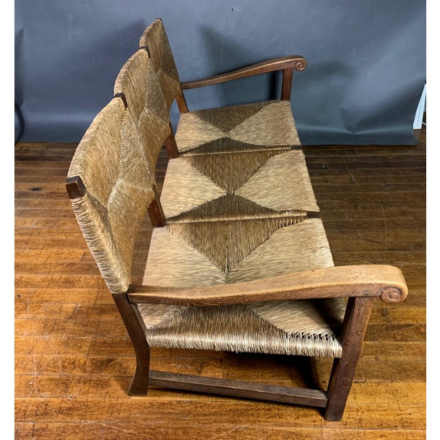 Brown Large 1940s Continental Woven Rush 3-Seat Settee For Sale - Image 8 of 13