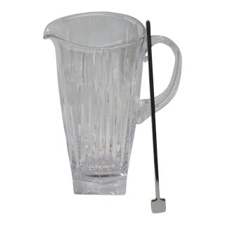 Waterford Drinks Mixer Pitcher Cut Crystal With Silver Plated Stirrer For Sale