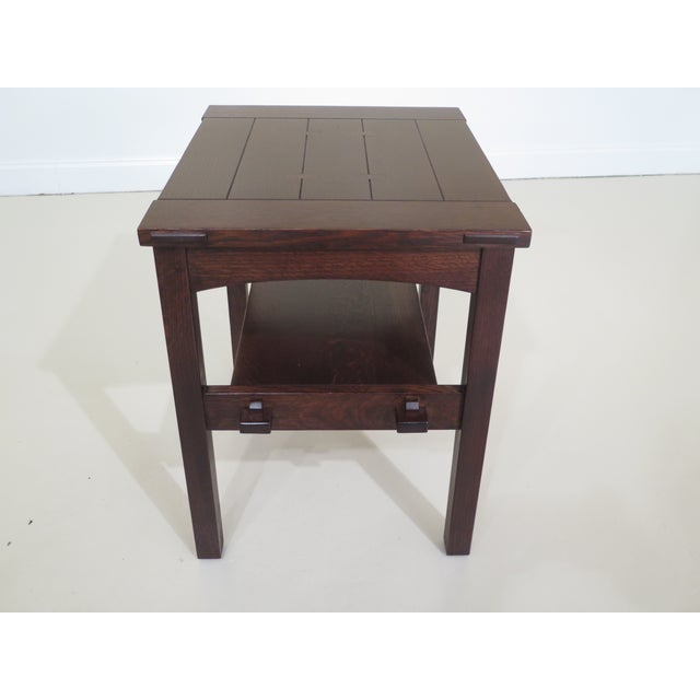 1990s Stickley Mission Oak Arts & Crafts Occasional End Table For Sale - Image 5 of 10
