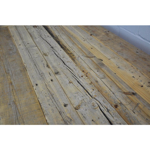 Brown Salvaged Industrial Reclaimed Pine Wood Rustic Dining Table With Metal Elements For Sale - Image 8 of 13