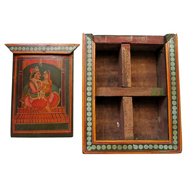 Asian Hand-Painted India Wood Box For Sale - Image 3 of 4
