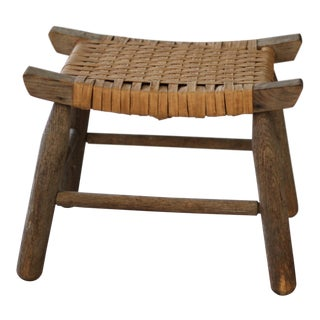 Vintage Mid Century Primitive Pi-Style Foot Stool For Sale