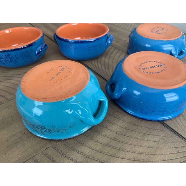 Vintage DeSilva Rustic Painted & Glazed Terra Cotta Soup Bowls With Handles- Set of 5 For Sale In Lexington, KY - Image 6 of 12