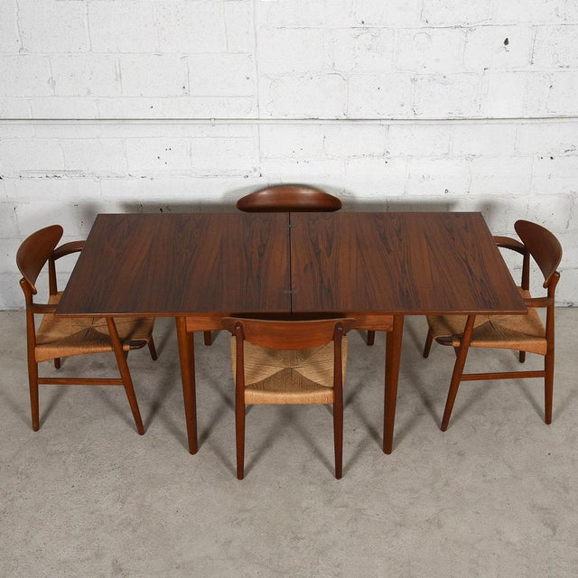 Teak Danish Modern Teak Square to Rectangle Dining / Game Table For Sale - Image 7 of 7