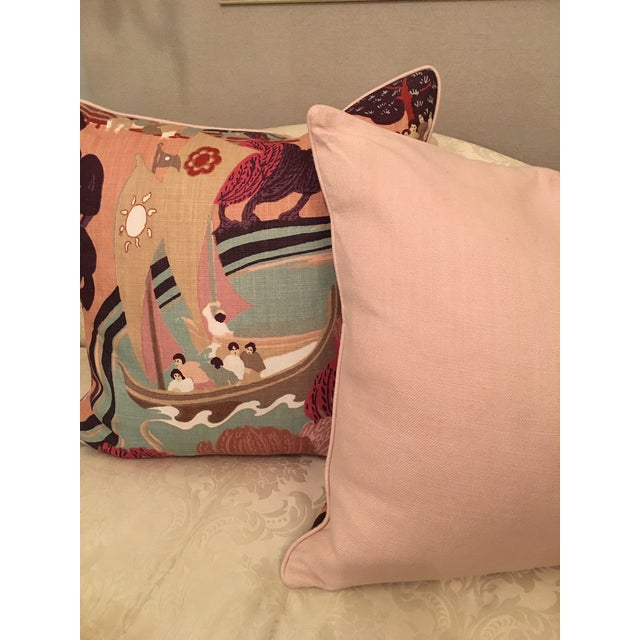 "Pair of pillows made from Schumacher's classic ""Pearl River"" in a beautiful colorway featuring rose, salmon, aqua, maroon..."