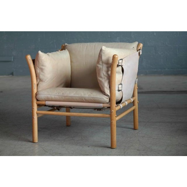 Arne Norell Arne Norell Safari 1960s Chair Model Ilona in Cream and Tan Leather For Sale - Image 4 of 11