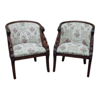 """1950s Vintage Neoclassical Design Swan """"Tub"""" Chairs - a Pair For Sale"""